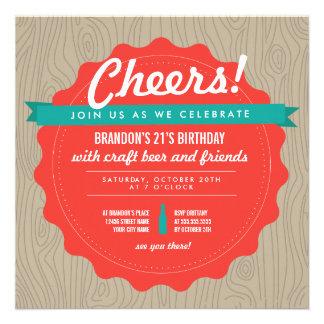 El cumpleaños de la cerveza del arte invita comunicado personalizado