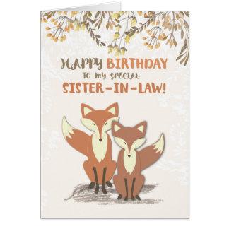 El cumpleaños de la cuñada Foxes, se va en ramas Tarjeta De Felicitación