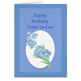 El cumpleaños de la cuñada me olvida no, flor tarjetas
