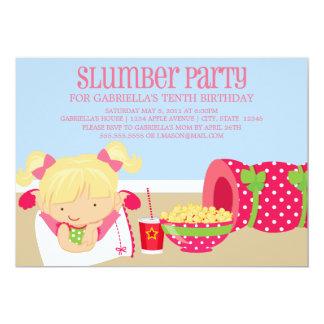 el cumpleaños de la fiesta de pijamas 5x7 invita invitación 12,7 x 17,8 cm