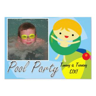 El cumpleaños de la fiesta en la piscina de la invitación 12,7 x 17,8 cm