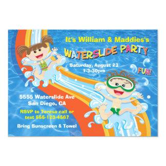 El cumpleaños de la fiesta en la piscina del invitación 12,7 x 17,8 cm