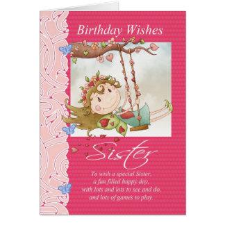 el cumpleaños de la hermana desea la tarjeta de fe