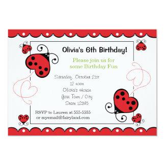 El cumpleaños de la mariquita del corazón del invitacion personal