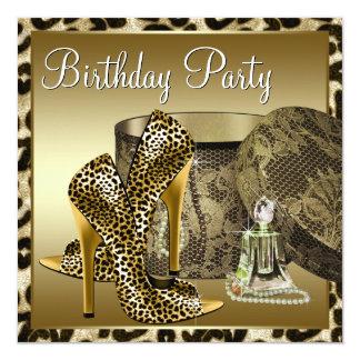 El cumpleaños de la mujer del oro del negro de invitación 13,3 cm x 13,3cm