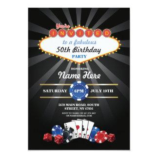 El cumpleaños de la noche del casino de Las Vegas Invitación 12,7 X 17,8 Cm