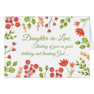El cumpleaños de la nuera florece religioso tarjeta de felicitación