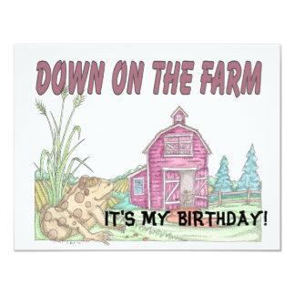 El cumpleaños de los niños de la granja invitación 10,8 x 13,9 cm