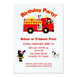 El cumpleaños de los niños del coche de bomberos invitación 12,7 x 17,8 cm