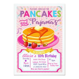El cumpleaños de los pijamas de las crepes invita invitación 12,7 x 17,8 cm