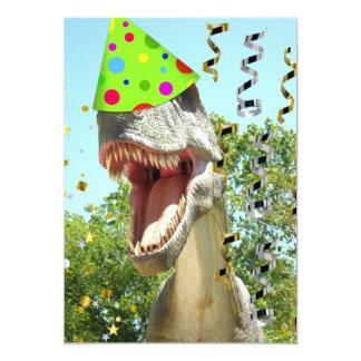El cumpleaños de T-Rex del dinosaurio invita Invitación 12,7 X 17,8 Cm