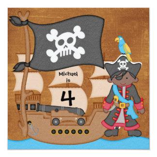 El cumpleaños del barco pirata del muchacho del AA Invitación 13,3 Cm X 13,3cm