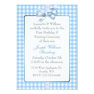 El cumpleaños del bebé azul de la guinga y invitación 12,7 x 17,8 cm