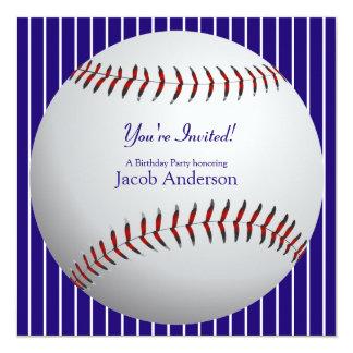 El cumpleaños del béisbol invita invitación 13,3 cm x 13,3cm