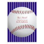 El cumpleaños del béisbol invita (las rayas azules anuncios personalizados