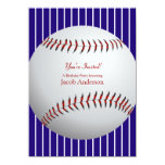El cumpleaños del béisbol invita (las rayas anuncios personalizados