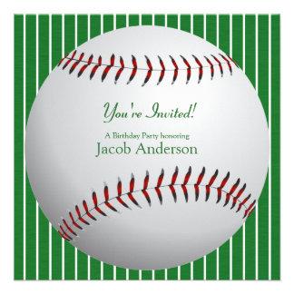 El cumpleaños del béisbol invita (las rayas verdes comunicados personales