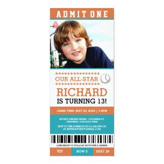 El cumpleaños del boleto del béisbol invita invitación 10,1 x 23,5 cm