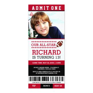 El cumpleaños del boleto del fútbol invita invitación 10,1 x 23,5 cm