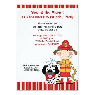El cumpleaños del bombero del Firetruck 5 x 7 de Invitación 12,7 X 17,8 Cm
