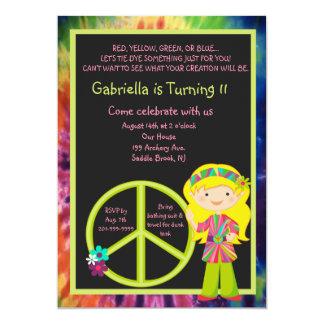 El cumpleaños del chica y del signo de la paz del invitación 12,7 x 17,8 cm