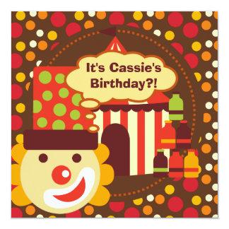 El cumpleaños del circo del payaso y de los invitación 13,3 cm x 13,3cm
