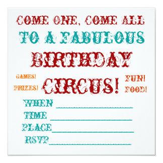 El cumpleaños del circo del vintage invita invitación 13,3 cm x 13,3cm