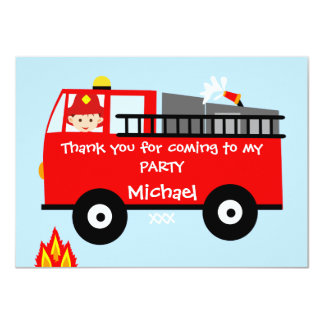 El cumpleaños del coche de bomberos de los niños invitación 11,4 x 15,8 cm