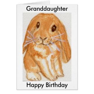 El cumpleaños del conejo del nieto de la nieta tarjeta de felicitación