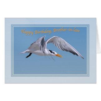 El cumpleaños del cuñado con el pájaro real de la tarjeta de felicitación