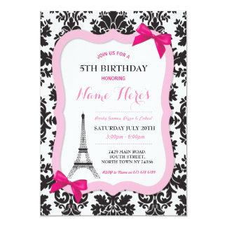 El cumpleaños del damasco del arco de la torre invitación 12,7 x 17,8 cm