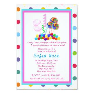 El cumpleaños del dulce 16 del tema del caramelo invitación 12,7 x 17,8 cm