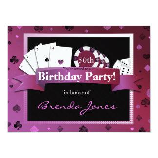El cumpleaños del estilo de Vegas del casino Invitación 16,5 X 22,2 Cm