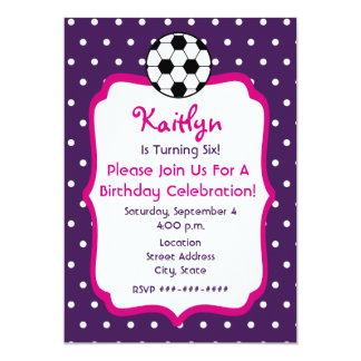 El cumpleaños del fútbol de los chicas invita a invitación 12,7 x 17,8 cm