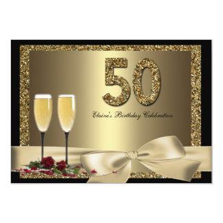 El cumpleaños del oro de la mujer negra de Champán Invitación 12,7 X 17,8 Cm
