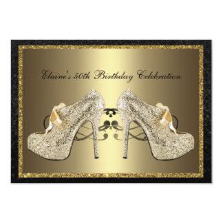 El cumpleaños del oro de la mujer negra de los invitación 12,7 x 17,8 cm