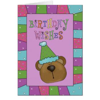 El cumpleaños del oso de la diversión desea la tarjeta de felicitación