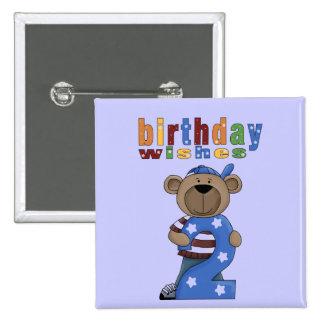 El cumpleaños del oso desea el botón del Pin #2