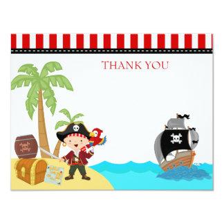 El cumpleaños del pirata le agradece las notas invitación 10,8 x 13,9 cm