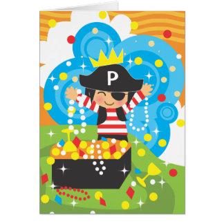 El cumpleaños del pirata le agradece Notecard Tarjeta Pequeña