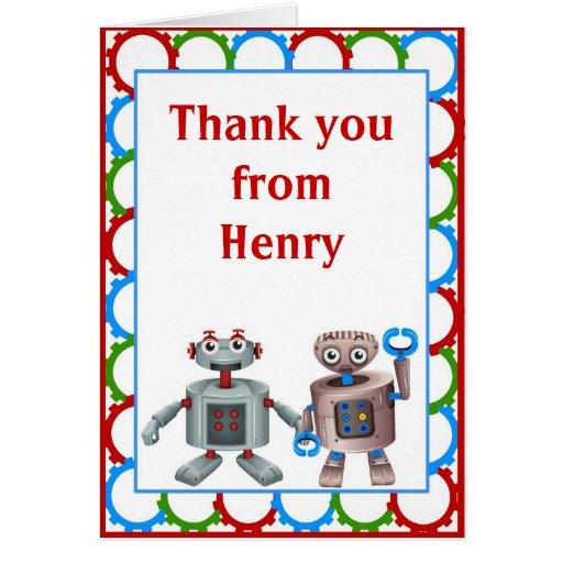 El cumpleaños del robot le agradece tarjeta de not