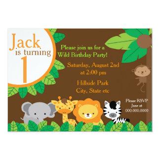 El cumpleaños del safari invita invitación 12,7 x 17,8 cm