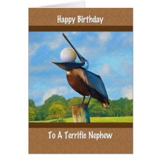El cumpleaños del sobrino, pelícano con la tarjeta