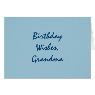 El cumpleaños desea para una abuela, azul en azul tarjeta de felicitación