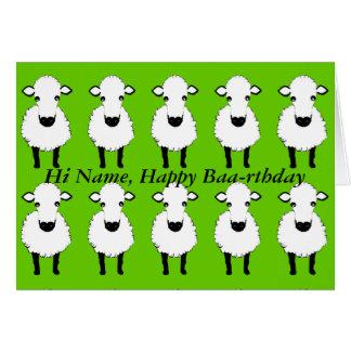 El cumpleaños divertido de las ovejas, baa rthday, tarjeta