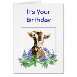 El cumpleaños divertido, flores de la cabra vieja tarjeta de felicitación