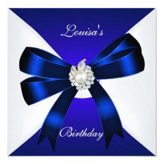 El cumpleaños elegante invita al azul real Pearl Invitación 13,3 Cm X 13,3cm