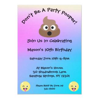 El cumpleaños en colores pastel de Pooper Emoji Invitación 12,7 X 17,8 Cm