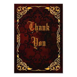 El cumpleaños enmarcado oro gótico le agradece invitación 8,9 x 12,7 cm