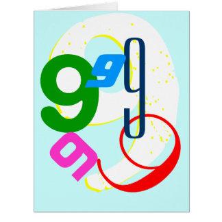 El cumpleaños envejece 1 a 9 tarjeta de felicitación grande